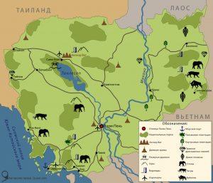 Карта достопримечательностей Камбоджи 2